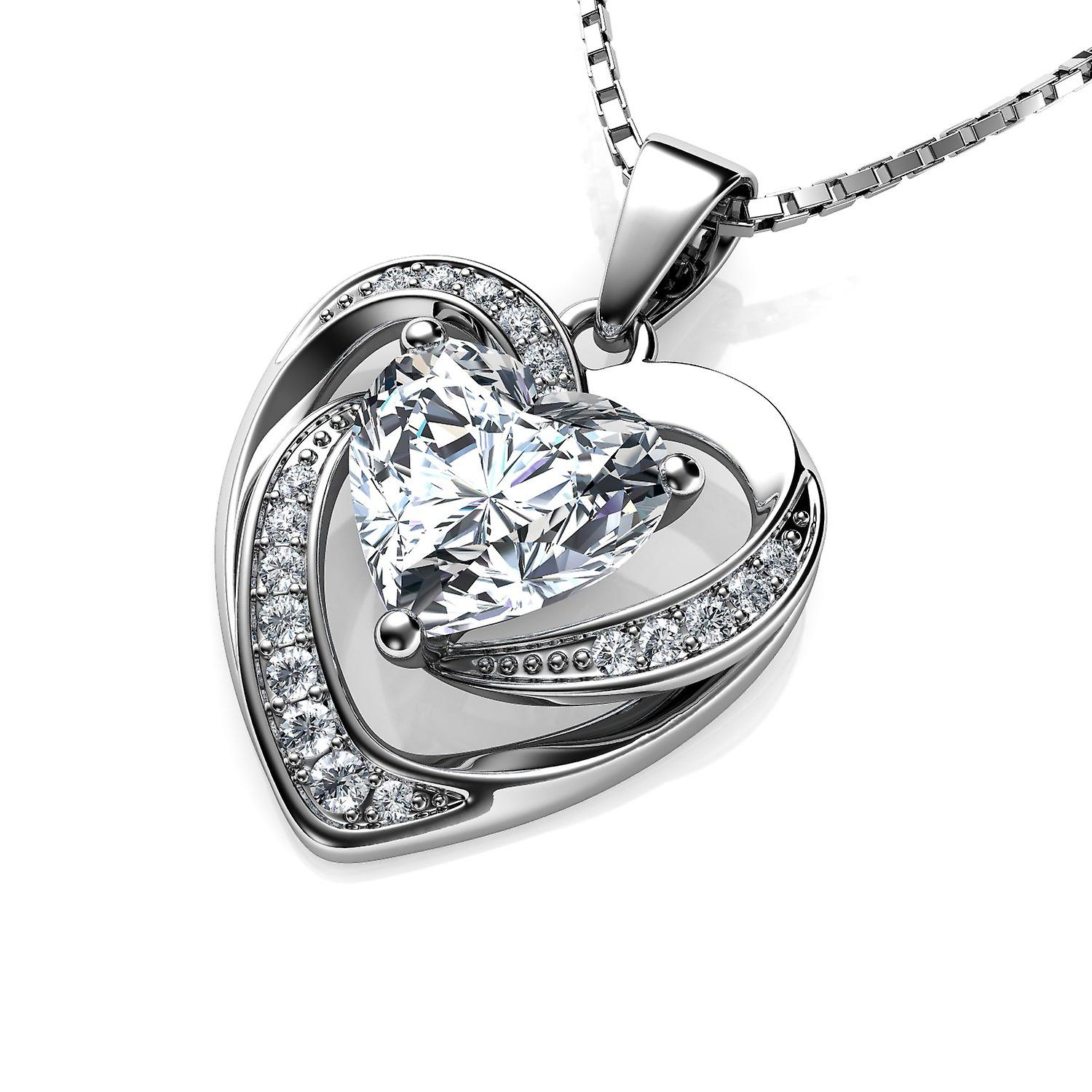 Dephini white heart necklace - 925 sterling silver pendant cz crystal