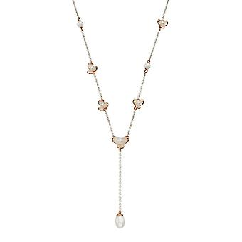 Joshua James Allure Silver & Rose Gold Plated Pearl Y-shaped Necklace