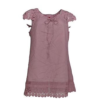 G.I.L.I. got it love it Women's Top Cap Slve Keyhole w/ Lace Purple A233788