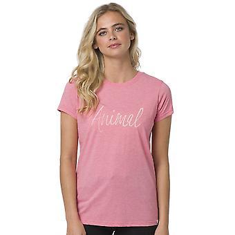 Animal Reel Mig i kort ärm T-shirt i Strawberry Pink Marl