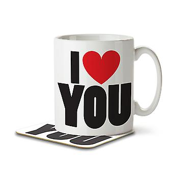 I Love (Heart) You - Mug and Coaster