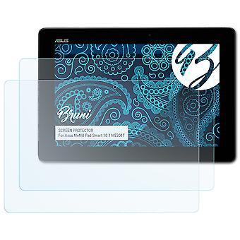 Bruni 2x Película Protectora compatible con Asus MeMO Pad Smart 10.1 ME301T Lámina Protectora