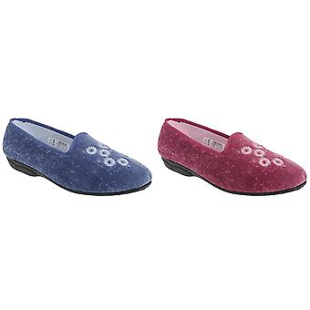 Zedzzz Womens/Ladies Cathy Floral Embroidered Velour Slippers