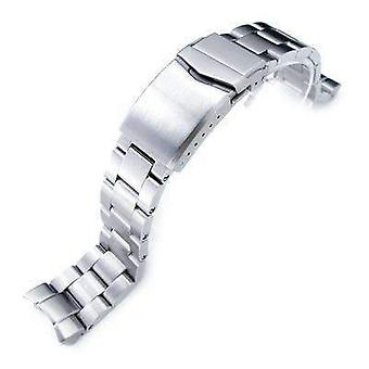 Strapcode watch bracelet 20mm super oyster 316l stainless steel watch band for seiko skx013, v-clasp button double lock