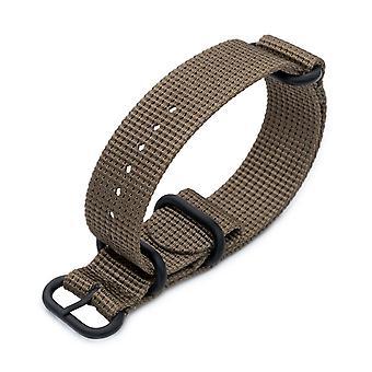 Strapcode n.a.t.o 20mm, 22mm tai 24mm miltat 3 renkaat zulu sotilaskellohihna 3d kudottu nailon käsivarsinauha - khaki, pvd musta laitteisto