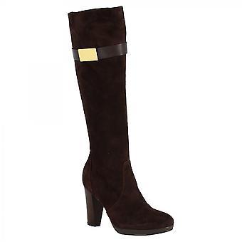 Leonardo Shoes Women's handmade heels knee high boots dark brown suede leather