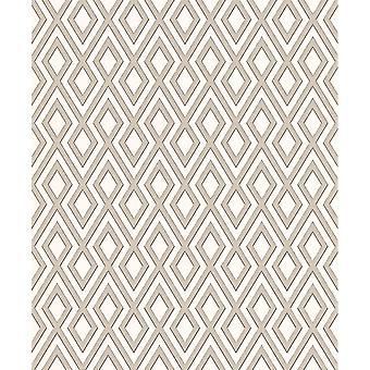 Erismann Fascination Geometric Stripe Pattern Triangle Embossed Glitter Vinyl Taupe Wallpaper