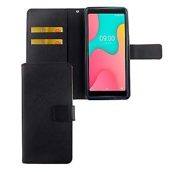 Wiko Y60 lomme telefon tilfelle beskyttende deksel flip tilfelle med kortbrett svart