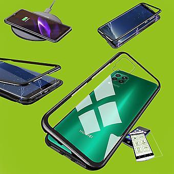 For Huawei P40 Lite Magnet / Metal / Glass Bag Case Black / Transparent + 0.26 mm H9 Hard Glass