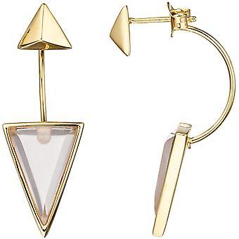 Korvakorut kolmio 925 hopea kullattu 2 vaaleanpunainen lasi lohkojen korvakorut