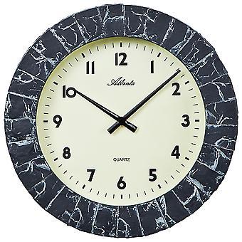 Atlanta 4474 Wall clock quartz analog grey anthracite stone optics