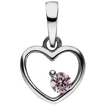 الاطفال قلادة القلب 925 الاسترليني الفضة 1 Zirconia الوردي قلادة القلب