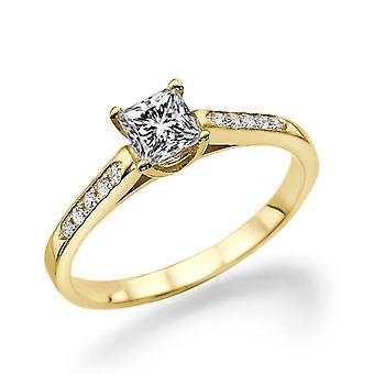 1/2 carat D SI2 diamant förlovningsring 14k gult guld Princess Cut Vintage Ring Designer Ring