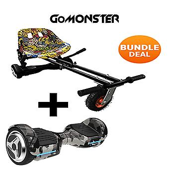 "6.5"" G PRO Camo Bluetooth Hoverboard with Go Monster Hoverkart in Hip Hop"