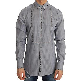 Dolce & Gabbana Gray Check GOLD Cotton Slim Fit Shirt