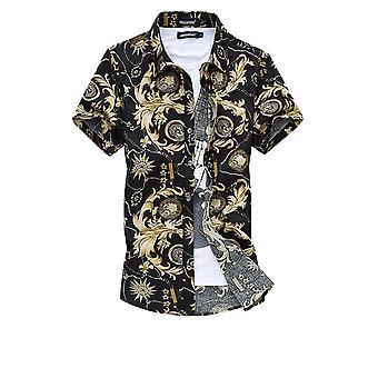 Allthemen الرجال & apos;ق قصيرة الأكمام قميص الصيف القطن عارضة قميص