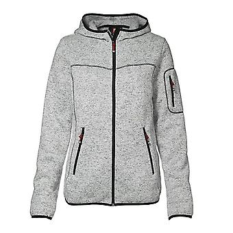 ID mujeres/señoras punto cremallera equipado chaqueta del paño grueso y suave/sudadera con capucha
