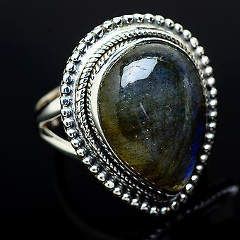 Labradorite Ring Size 6.25 (925 Sterling Silver)  - Handmade Boho Vintage Jewelry RING11948