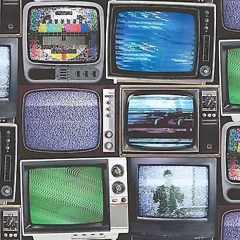 Retro Vintage TV Wallpaper Television Screen Paste The Wall Vinyl Multicoloured