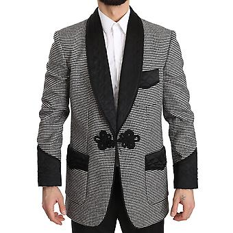 Dolce & Gabbana Gray Black Wool Quilted Jacket Coat  Blazer