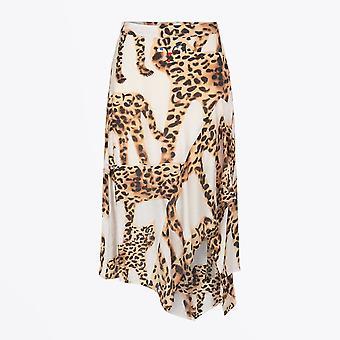 Munthe  - Asymmetric Leopard Print Skirt - Beige