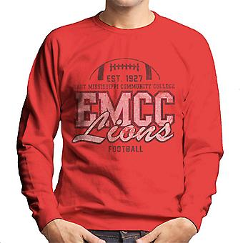East Mississippi Community College Distressed Dark Lions Football Men's Sweatshirt