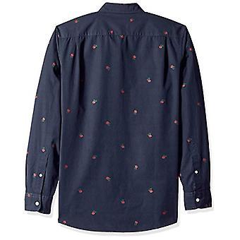 Goodthreads Men-apos;s Standard-Fit Long-Sleeve Dobby Shirt, -navy rose, Large