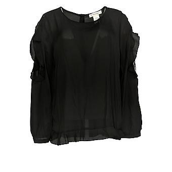 Masseys Women's Top Blouse w/ Ruffle Detail Zwart