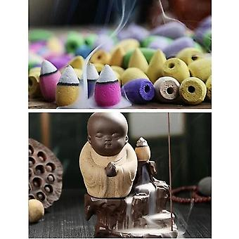 The Little Monk Small Buddha Censer Backflow Incense Burner With Incense Cones