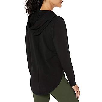 Merk - Core 10 Women's Cloud Soft Yoga Fleece Hoodie Sweatshirt, Blac...