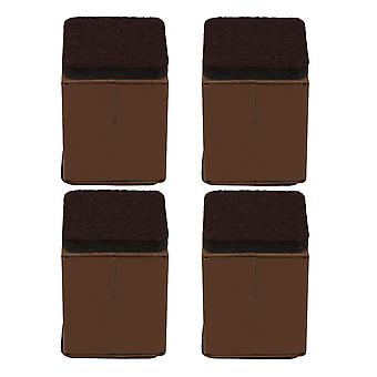 4pcs 40x52mm Carbon Steel Brown Furniture Legs Lifter Self Adhesive Brown