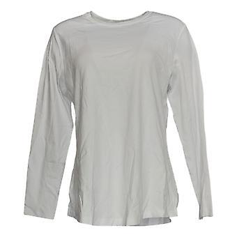 Isaac Mizrahi Live! Women's Top Pima Cotton Knit Crew Neck White A372671