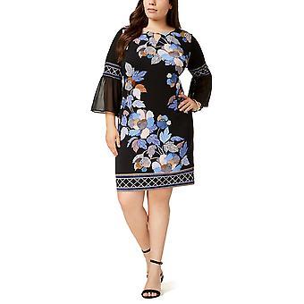 JM Collection   Chiffon-Sleeve Keyhole Dress
