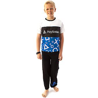 PlayStation Pyjamas For Boys | Children & Teens Logo T-Shirt & Loungepants PJ Set | Kids Cotton Blue, White & Black Sleepwear Gamer Gift Set