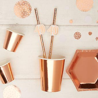 Rose Gold 40th Birthday Party Paper Straws x 10