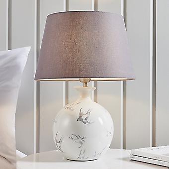 Lámpara de mesa gris crackle glaze y carbón gris algodón 1 luz IP20 - E27