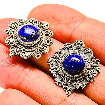 """Lapis Lazuli Earrings 1"""" (925 Sterling Silver)  - Handmade Boho Vintage Jewelry EARR407513"""