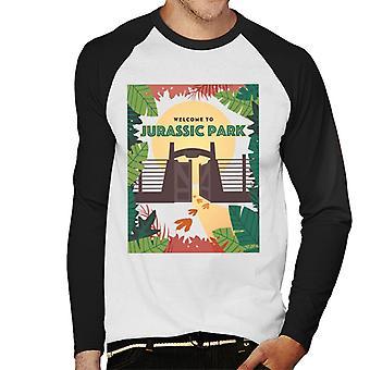 Jurassic Park Welcome To Sign Design Men's Baseball Long Sleeved T-Shirt