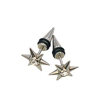 Pair of 6 point star faux tapers with a cz 316l surgical steel