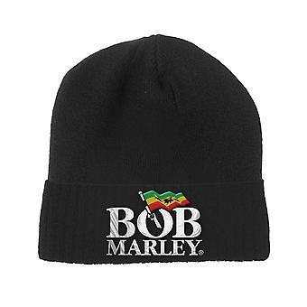 Bob Marley Beanie Hat Jamaican Flag Logo new Official Black