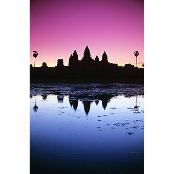 Kambodscha Angkor Wat Silhouette des Tempels bei Sonnenaufgang PosterPrint