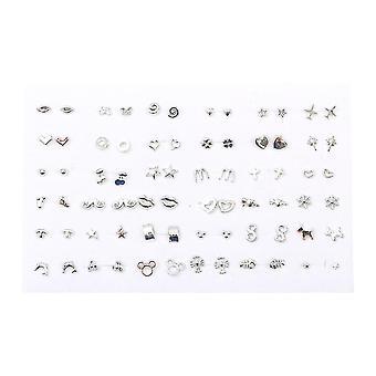 36 Pairs Women Butterfly Bowknot Flower Heart Small Plastic Stud Earrings Sets