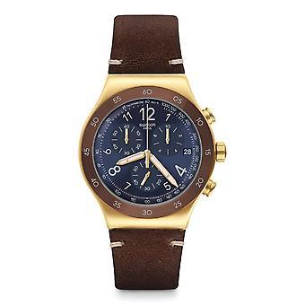 Swatch Yvg408 Vini Gold & Brown Leather Irony Novo Relógio Crono