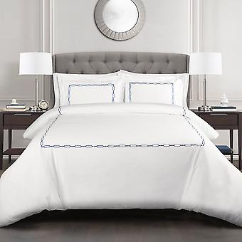 Hotel Geo Duvet Cover Navy 3Pc Set Full/Queen