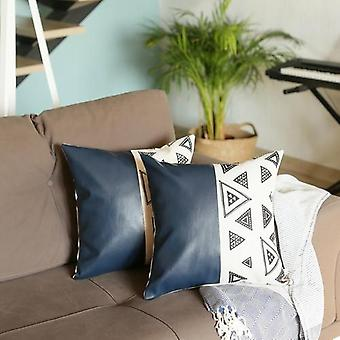 """Decorative Vegan Faux Leather Square 17"""" Throw Pillow Cover (set Of 2)"""