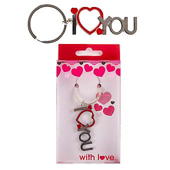 I Love You Red Heart Keyring Wedding Anniversary Valentines Day Gift Present