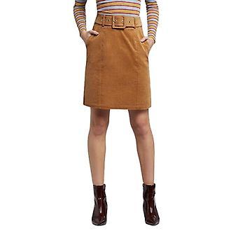 Louche Womens Amir Belted Cord Mini Skirt Tan