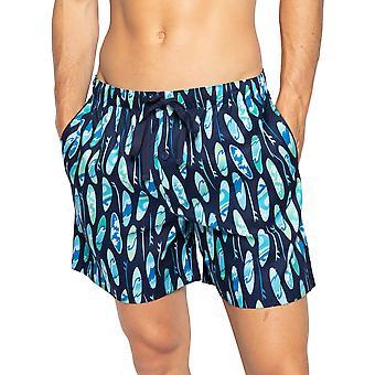 Cyberjammies Elliot 6564 Men's Navy Blue Mix Surfboard Puuvilla Pyjama Lyhyt