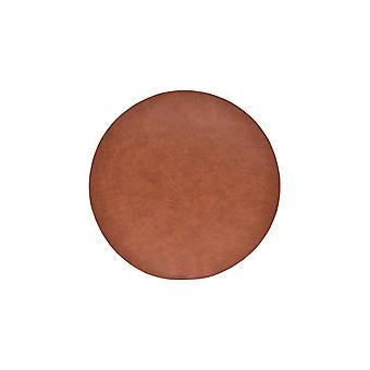 Glasunderlägg Runda grå/brun läderlook 4-pack