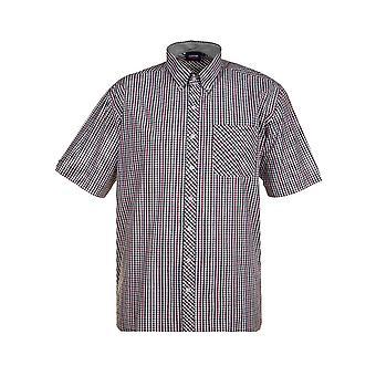 Espionage Navy & Green Short Sleeve Check Shirt